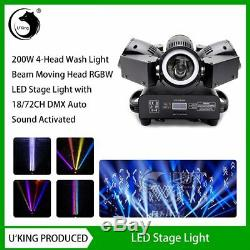 200W 4-Head Wash Moving Head RGBW LED Stage Light with 18/72CH DMX for Pub Party