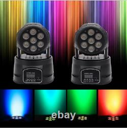 2PCS RGBW Color Mixing Moving Head Stage Light 105W 7LED 9/14CH DMX Party Lamp