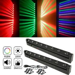 2Pcs 100W LED Moving Head Light DJ Stage DMX512 RGBW 4IN1 Bar Beam Color Mixing