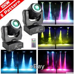 2x 8Pattern Gobo 100W LED RGBW Moving Head Light DJ Party Stage Lighting+Remote