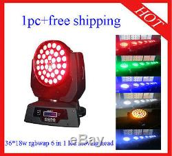3618W RGBWAP 6 in 1 Led Moving Head Zoom Wash DJ Stage Light 1pc Free Shipping