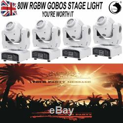 4PCS U`King LED Moving Head 80W RGBW GOBOS Stage Light Disco Bar Party Lighting