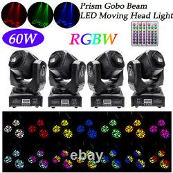 4x LED Spot RGBW Moving Head Stage Lighting Prism GOBO Rotating DMX Disco Party