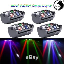 4x80W 8-Leds Spider Moving Head Beam RGBW LED Stage Lighting DMX Disco Party