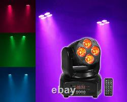(8) Rockville RockOn-7 40w RGBW Moving Heads DMX Spot Beam Stage Lights+Remote